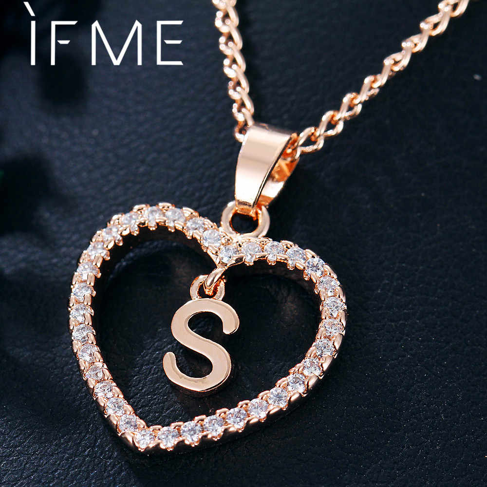 IF ME Capital Initial Letter S Crystal Heart Necklaces Women Statement Pendant S Rose Gold Silver Color Chains Necklace Gift New
