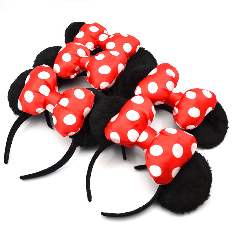 Lovely Minnie mouse ears red hair band Adult children very well Tourism travel Big bowknot fluffy headdress