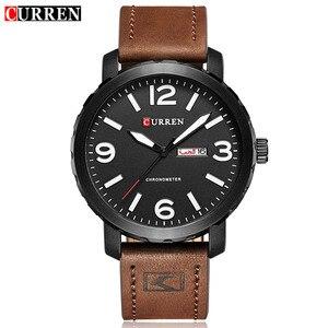 Image 2 - עסק פשוט אופנה גברים שעוני יוקרה מותג CURREN זכר שעון לוח רצועת עור שעוני יד Relogio Masculino Hodinky