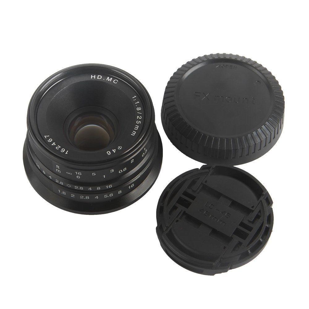 25mm F/1.8 HD MC Mise Au Point Manuelle Objectif Grand Angle Pour Fujifilm FX Caméra X-T10 X-T20 X-T2 X-T1 X-PRO1 X-E2/2 S/E3 X-M1 X-A3 X-A5