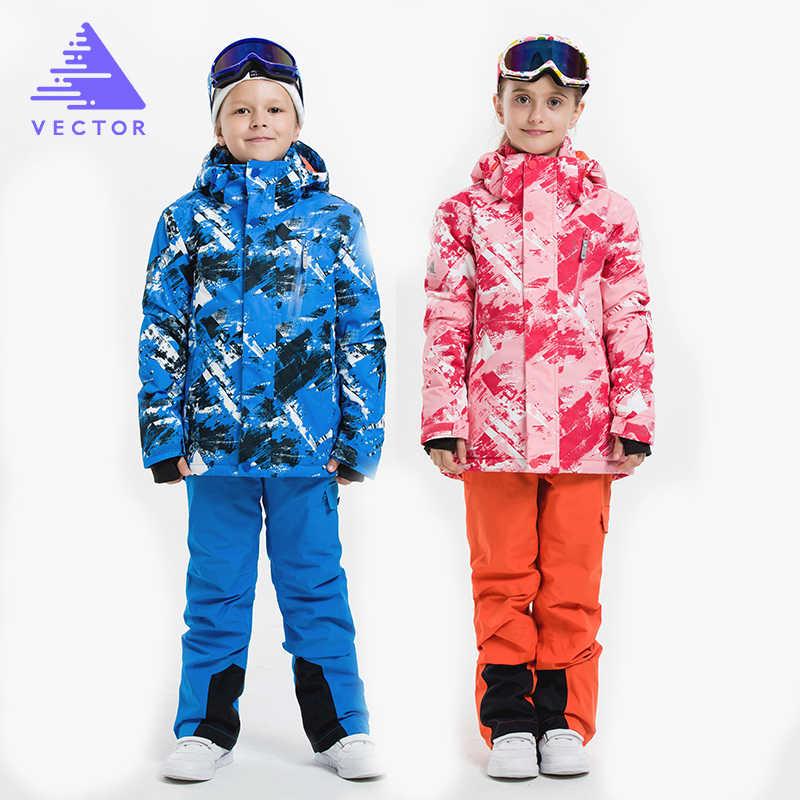 de6f4f5481 ... VECTOR Boys Girls Ski Suits Warm Waterproof Children Skiing  Snowboarding Jackets + Pants Winter Kids Child ...