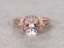 MYRAY 14k Rose Gold 8x10mm Oval Natural Pink Morganite Gemstone Diamond Vintage Engagement Wedding Ring Anniversary Women Rings