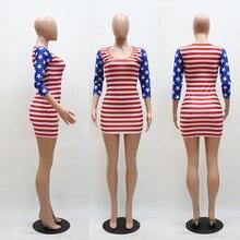 Yuerlian Women Red White Striped Mini Dresses Female Flag Stars Print Vestido 2017 Summer New Lady Three Quarter Bodycon Dress