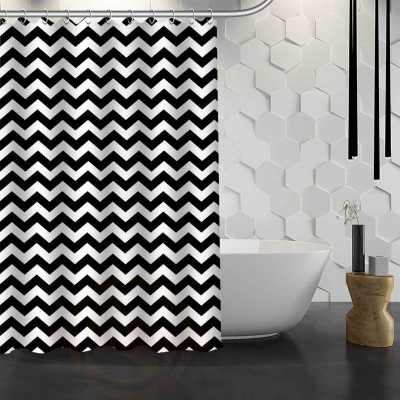 New Chevron Pattern Background Custom Shower Curtain Waterproof Fabric Bath Curtain for Bathroom WJY1.17