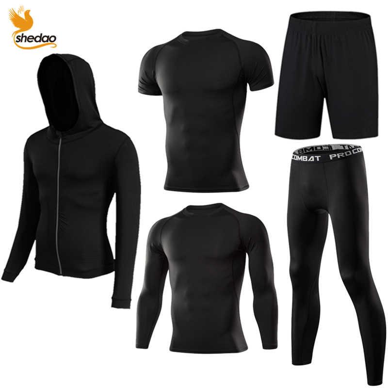 15a3875047f02 ... Los hombres de gimnasio de entrenamiento fitness ropa deportiva medias  ropa delgada entrenamiento trajes de chándal ...