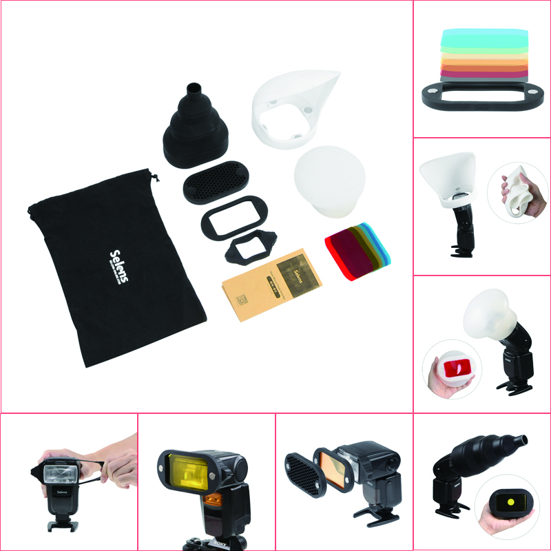 1Set new Honeycomb Gridx + Shelf + Filter + Rubber Band + Light Sphere / Bounce / Snoot +Carrying Bag FOR flash Speedlite selens seven color speedlite filter honeycomb grid with magnetic rubber band for yongnuo canon nikon flash accessories kit