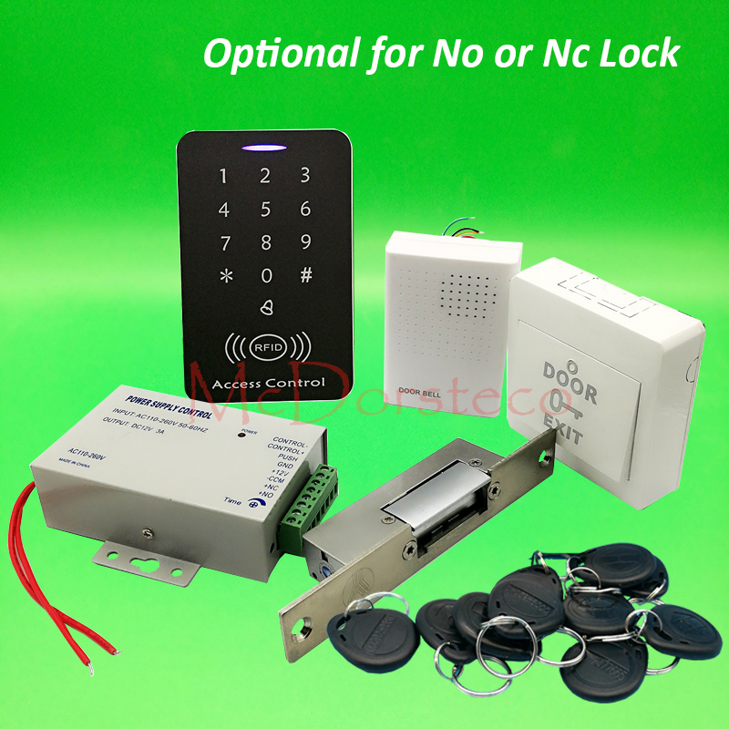 DIY Full 125khz Rfid Access Control System Kit + Narrow Type Electric Strike Lock + Power Supply 125khz Keypad Door Lock System full complete rfid door access control system kit digital keypad with electric strike lock power supply 10pcs id key chains