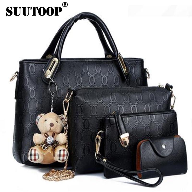 famous brand women bag top-handle bags fashion lady shoulder bag handbag set PU Leather bag women's handbags 4pcs/set