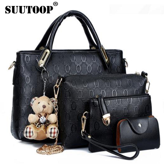 db22190d4 famous brand women bag top-handle bags fashion lady shoulder bag handbag  set PU Leather bag women's handbags 4pcs/set suutoop
