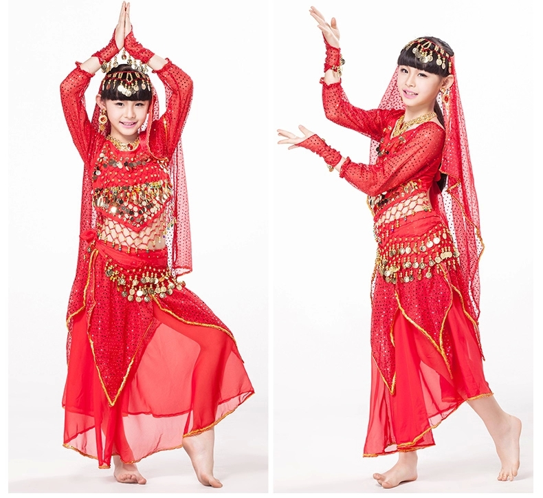 6ad97bf8c Indian Dresses Sari Children Dance Wear 5 piece Set Costume Long ...