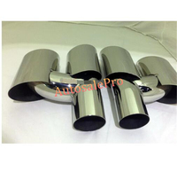 For Porsche Panamera 970 2010 2011 2012 3013 Steel rear outlet Tail End Pipe Exhaust Muffler Tip 2pcs