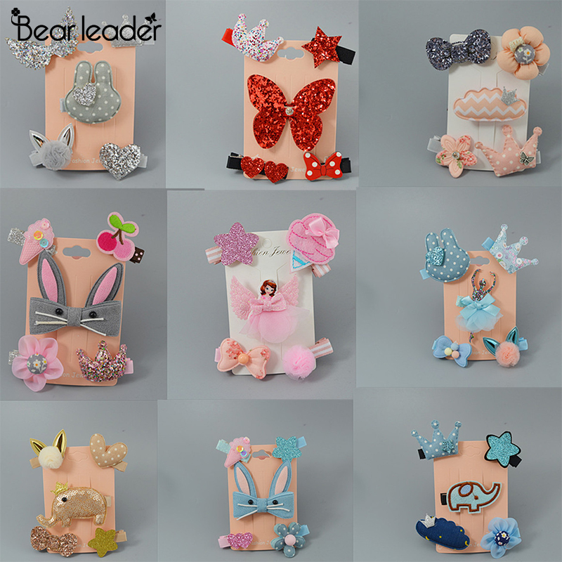 Bear Leader Hair Pins Cute Cartoon Pattern Pin Hair For Kids Girl Children Hair Pin Accessories 5pcs A Set