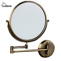 8 Inch Dual Face Antique Brushed Makeup Mirrors 1x3 Magnifier Brass Cosmetic Wall Mirror Wall Mounted