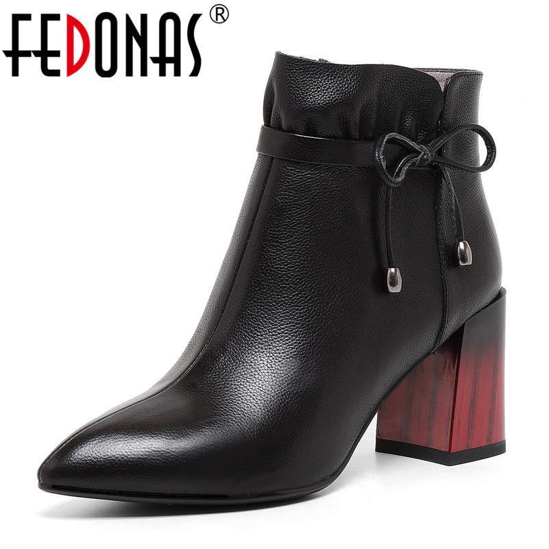 FEDONAS 2019 Top Quality Women New High Heels Ankle Boots Butterfly Knot Party Shoes Woman Short Martin Boots Office Pumps все цены