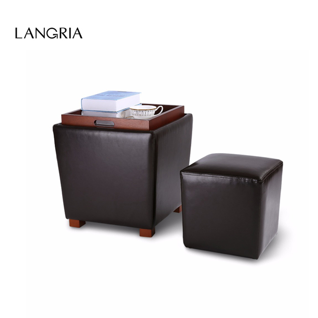 LANGRIA 2 Piece Nesting Faux Leather Ottoman Set With Legs And Flip Over  Tray