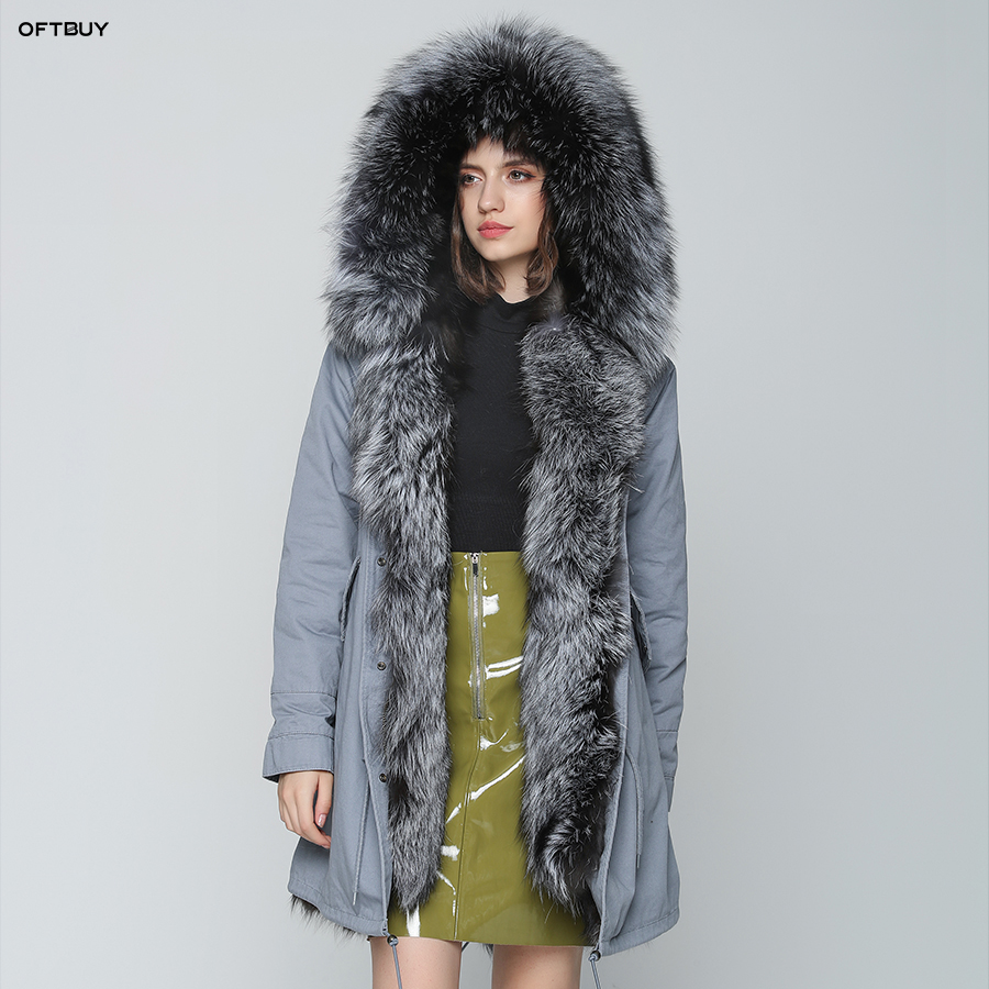 OFTBUY 20118 Winter Jacket Women Real Fur Coat Long Parka Natural Fox Fur Thick Warm Streetwear