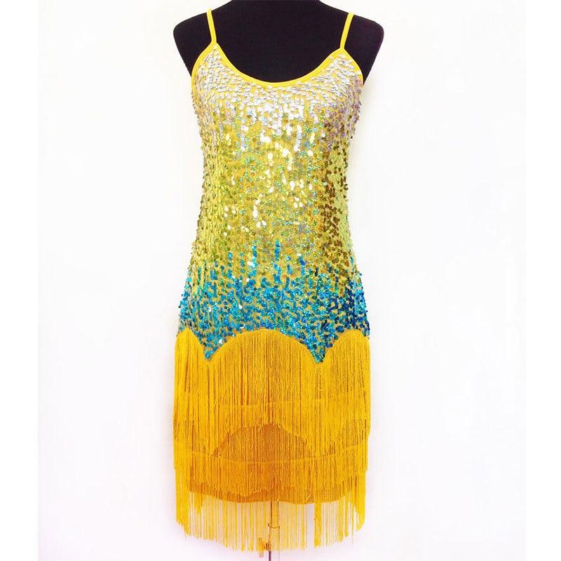 Latin Fringe Dress Dance Wear Kvinder Latin Dance Dress Dance Skirt Salsa Dance Costume Kjoler Dancewear Ballroom 5 Color