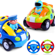 Cartoon Playmobile Remote Control Mini Po-lice Cars With Music And Lights Electic RC Car Toys For Kids Robot Doll For Children