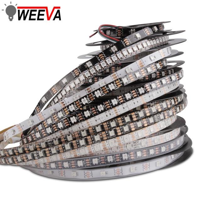 WS2812B DC 5 V LED רצועת RGB 50 CM 1 M 2 M 3 M 4 M 5 M 30 /60/144 נוריות חכם מיעון פיקסל שחור לבן PCB WS2812 IC 17Key בר