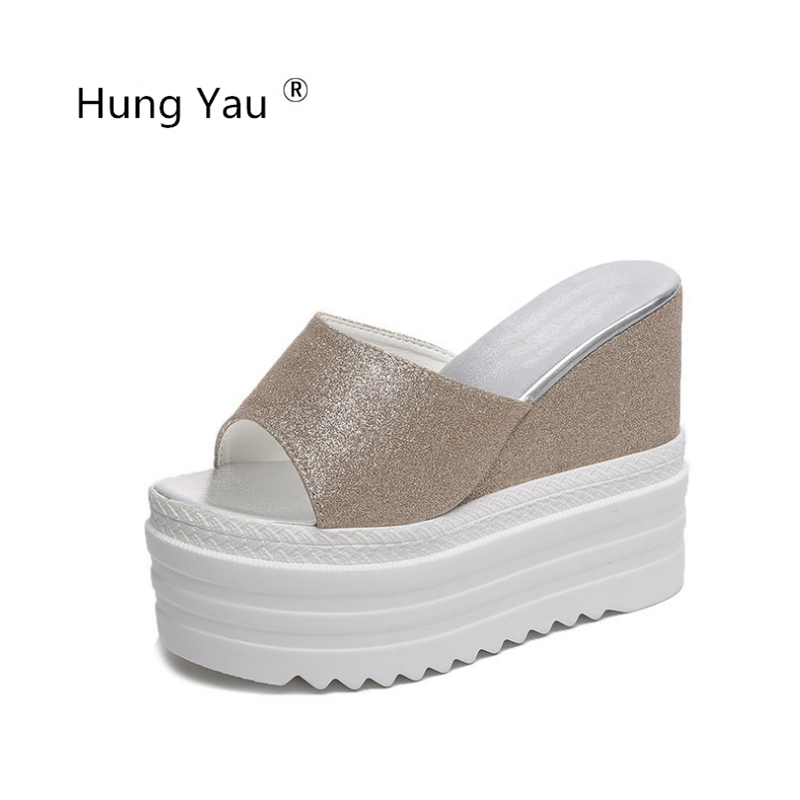 Hung Yau Shoes For Women 12CM Slope Heel Thick Bottom Creepers Sequins Female Slippers Wedges Summer Sandals Open Toe Flip Flops