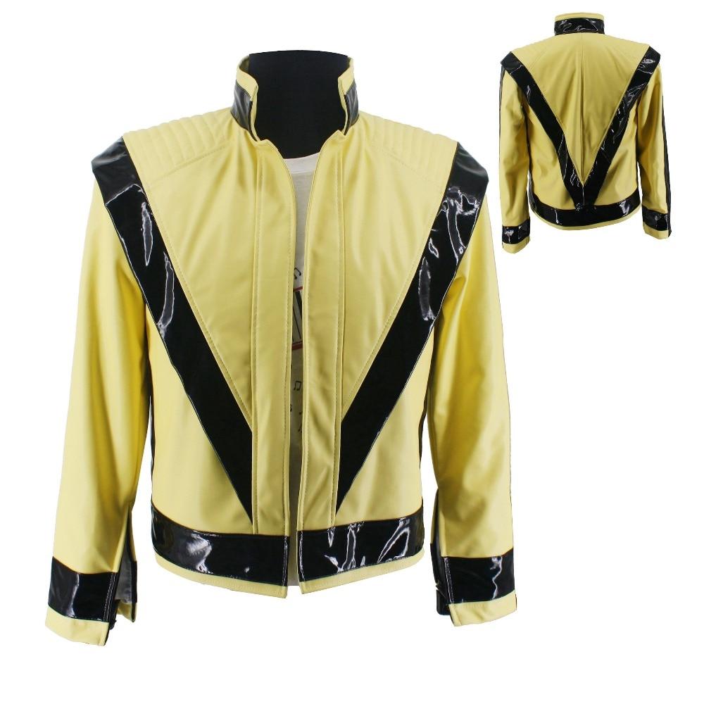 WOW Rare MJ Michael Jackson Thriller Night Light Yellow Open PU Classic Cosplay Jacket On Concert Perfromance