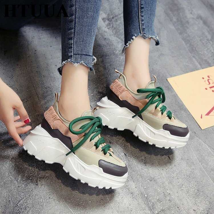 HTUUA 2018 ربيع الخريف النساء حذاء كاجوال أحذية منصة مريحة امرأة أحذية رياضية السيدات المدربين chaussure فام SX1450
