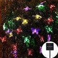 Синяя бабочка  солнечная гирлянда  уличная гирлянда  украшение для сада  лужайки  елки  Рождественский светодиодный декоративный цветок  ги...