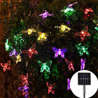 Blue Butterfly Solar String Light Street Garland Outdoor Decoration For Garden Lawn Tree Christmas LED Decorative Flower Festoon
