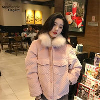 Fake Raccoon Fur Collar Parka Cotton Fur Inside Jacket Winter Jacket Women Thick Snow Wear Coat