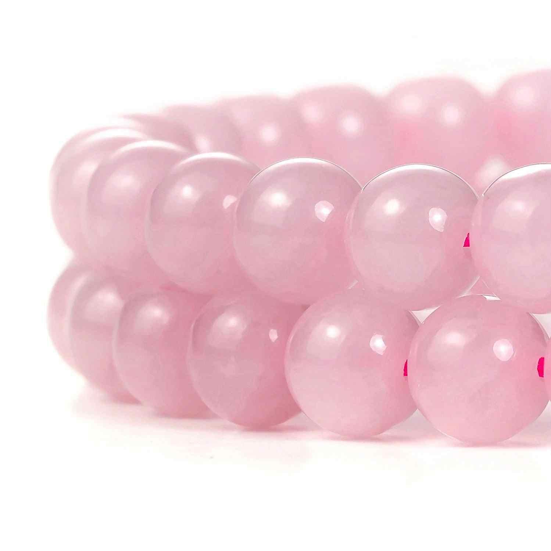 ขายส่งธรรมชาติ Rose Quartz สีชมพูหินลูกปัดสำหรับเครื่องประดับทำเซรามิค DIY สร้อยข้อมือวัสดุ 4/6/8/ 10/12/14 มม.Strand 16''