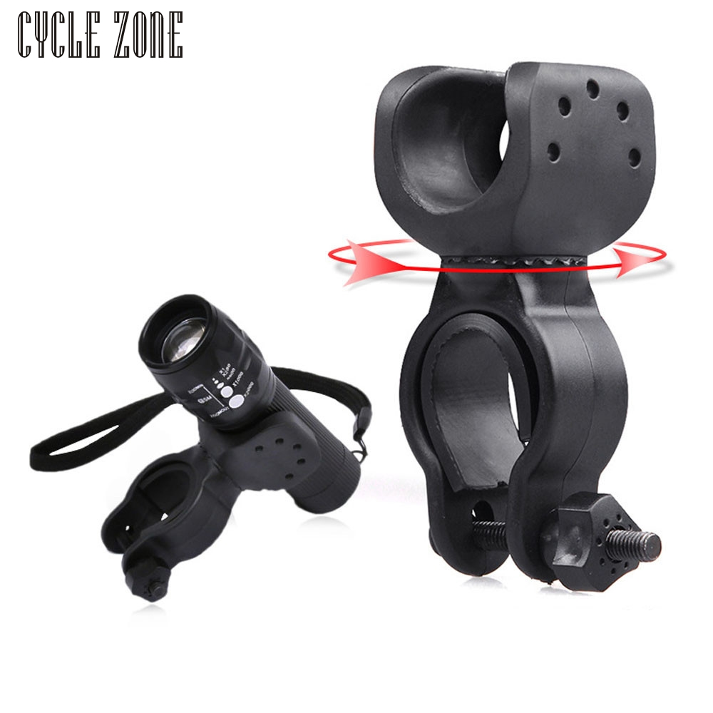 Cycle Zone 2017 360 Torch Clip Mount Bicycle Front Light Bracket Flashlight Holder 360 Rotation With antiskid rubber gaskets