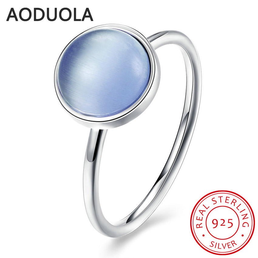 925 Sterling Silver Ring Poetic Droplet Aqua Blue Stone Crystal Womens Rings for Ladies and Girls Finger Lover wedding Gift