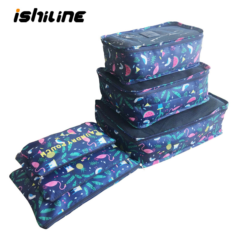 6 pçs/set organizador de viagem sacos de armazenamento portátil bagagem organizador roupas arrumado bolsa mala embalagem saco de lavanderia armazenamento caso