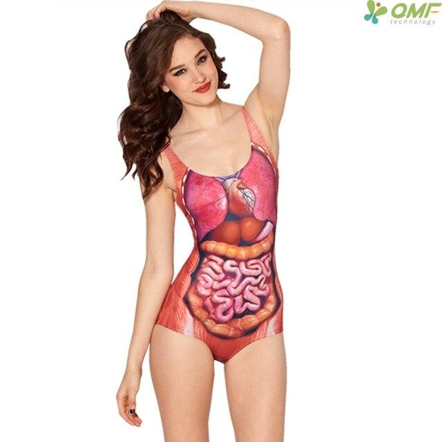 0b7ea1c70efd4 Human Visceral Organs Swimwear One Piece Triangle Swimsuit Red Organ  Swimming Suit Bikini Sexy Bathing Suits Women Biquinis