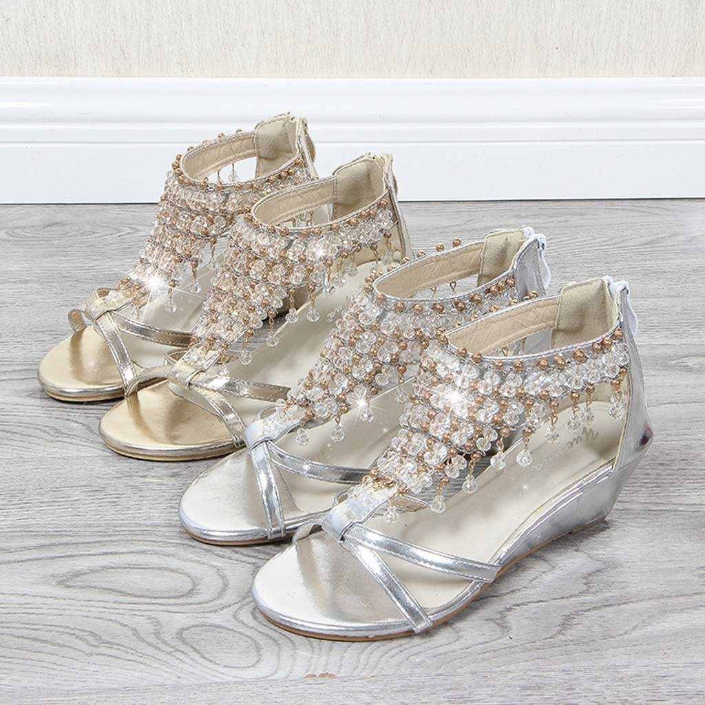 Wedges Sandals Covered Pearl-Pendant Tassel Casual-Shoes Bridal Gold Summer Office-Style