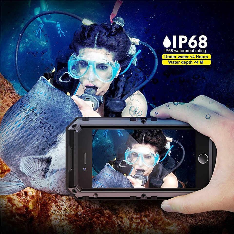 מתכת אלומיניום עמיד למים טלפון מקרה עבור iPhone XR X 6 6 S 7 8 בתוספת XS מקסימום עמיד הלם Dustproof כבד duty כיסוי יוקרה שריון