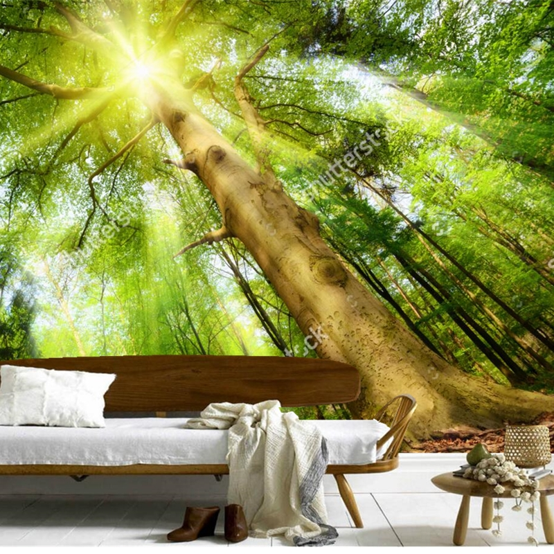 Custom 3D mural,3d towering trees papel de parede, living room TV wall Bedroom Sofa backdrop wallpaper wallpaper for walls 3 d custom children wallpaper multicolored crayons 3d cartoon mural for living room bedroom hotel backdrop vinyl papel de parede