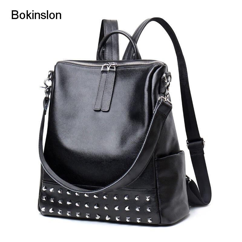 Bokinslon Backpack For Woman Split Leather Popular Woman School Bags Individuality Rivet Ladies Fashion Backpack BagsBokinslon Backpack For Woman Split Leather Popular Woman School Bags Individuality Rivet Ladies Fashion Backpack Bags