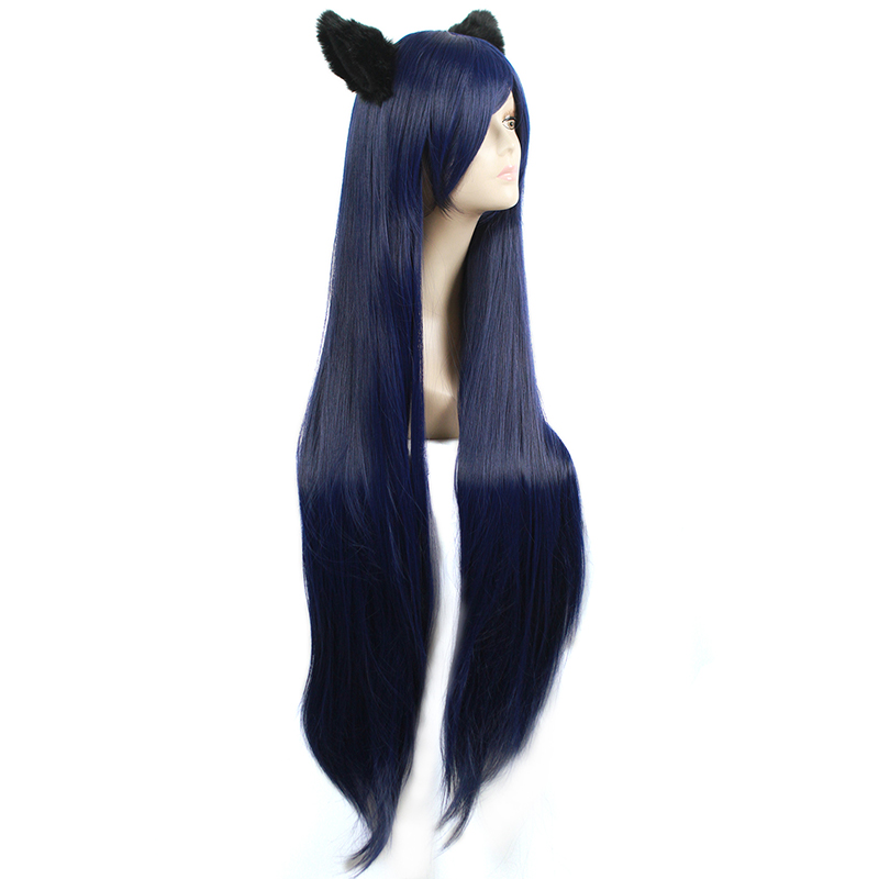 Image 3 - L email wig Game LOL Cosplay Wigs Ahri Character 100cm Dark Blue wig with Ears Heat Resistant Synthetic Hair Perucas Cosplay WigSynthetic None-Lace  Wigs   -