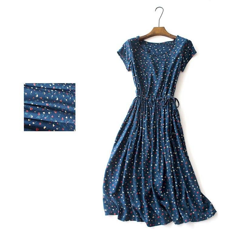 rustic Floral flowers print o neck short sleeve drawstring pockets dress mori girl 2018