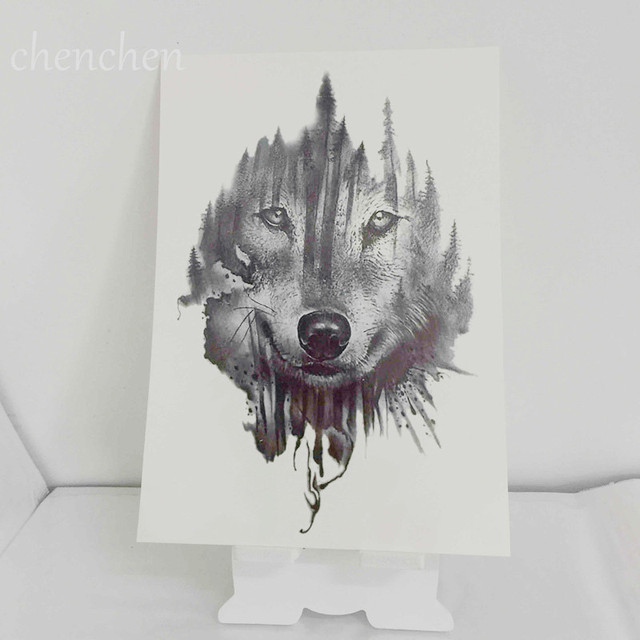 Tatouage Temporaire Autocollant Foret Loup Loups Chien Arbre Nuage