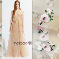 Organza embroidered three dimensional embroidery lace fabric pink floral dress dress apparel fabrics