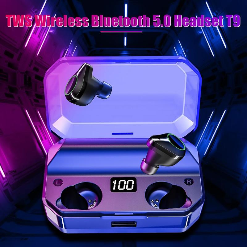 <font><b>TWS</b></font> <font><b>T9</b></font> Bluetooth V5.0 Earphones Wireless Headset Stereo Dual Microphone Sports Earbuds IPX7 Waterproof with 7000mAh Charging Box image