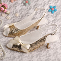 5CM Low Heel Gold Sandals Slingback Open Toe Prom Shoes Dropshipping