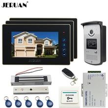"JERUAN three desk 7"" LCD Touch video doorphone intercom systemr+700TVL IR Night Vision camera+Magnetic lock+FREE SHIPPING"