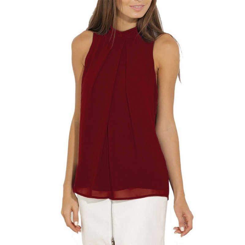 LASPERAL רב צבע מוצק אפוד חולצה נשים שיפון חולצות 2019 קיץ למעלה אופנה מקרית שרוולים Femininas Blusas חולצות