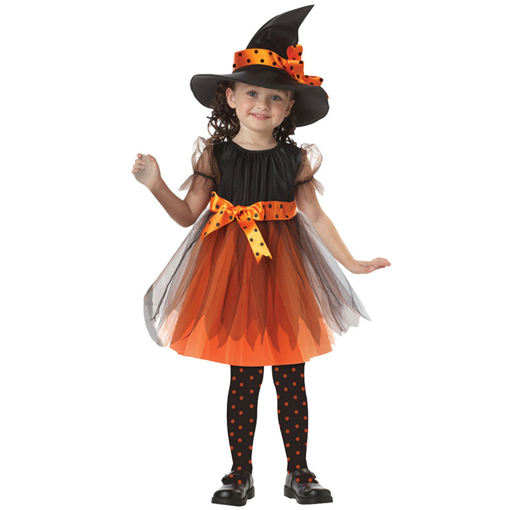 New Witch Play Clothes Toddler Girls Fancy Halloween Clothes New Kids Baby Festival Costume Dress Party Dresses+Witch Hat Outfit