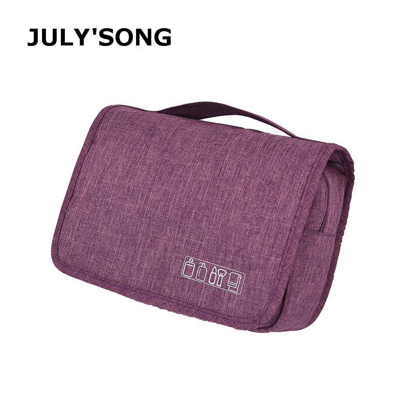 JULY'SONG Hanging Travel Make Up Bag Waterproof Wash Bag For Bathroom Solid Multi-layer Organizer Toiletries Suitcase