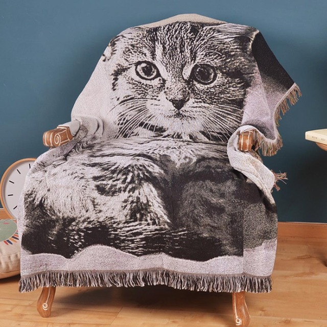 Cute Cat Dog Throw Blanket Sofa Decorative Slipcover Cobertor On Beds Plane Travel