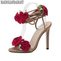 مروحة مينغ نجم t-تايوان تظهر الورود عبر جلد النساء الصنادل عالية الكعب سيدة أحذية عارضة الدانتيل متابعة اللباس حزب أحذية الزفاف s373
